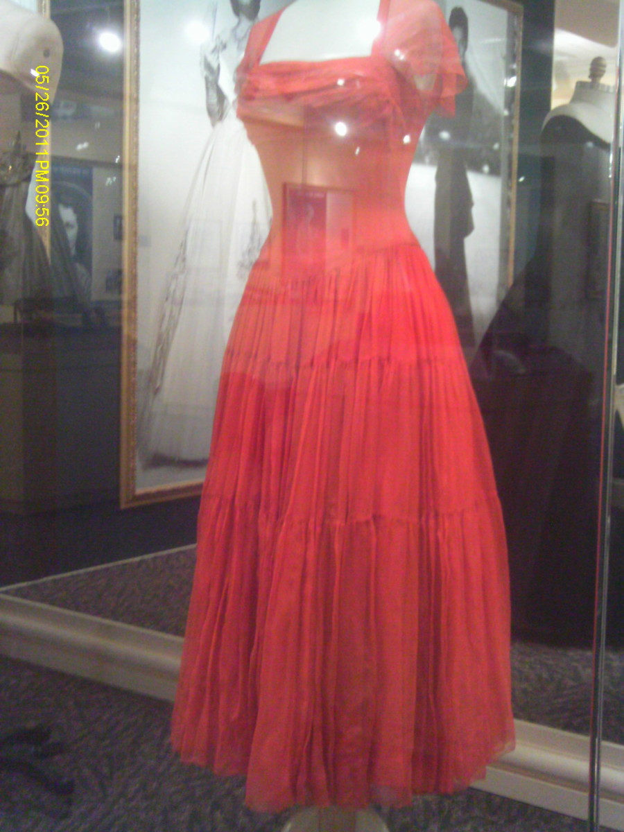 Silk dress; a gift from Howard Hughes.
