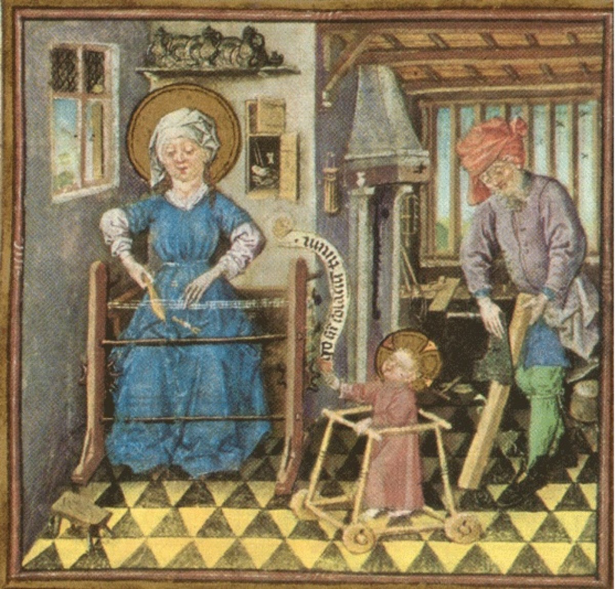 """The Holy Family At Work"" circa 1440 depicts Baby Jesus in a type of baby walker."