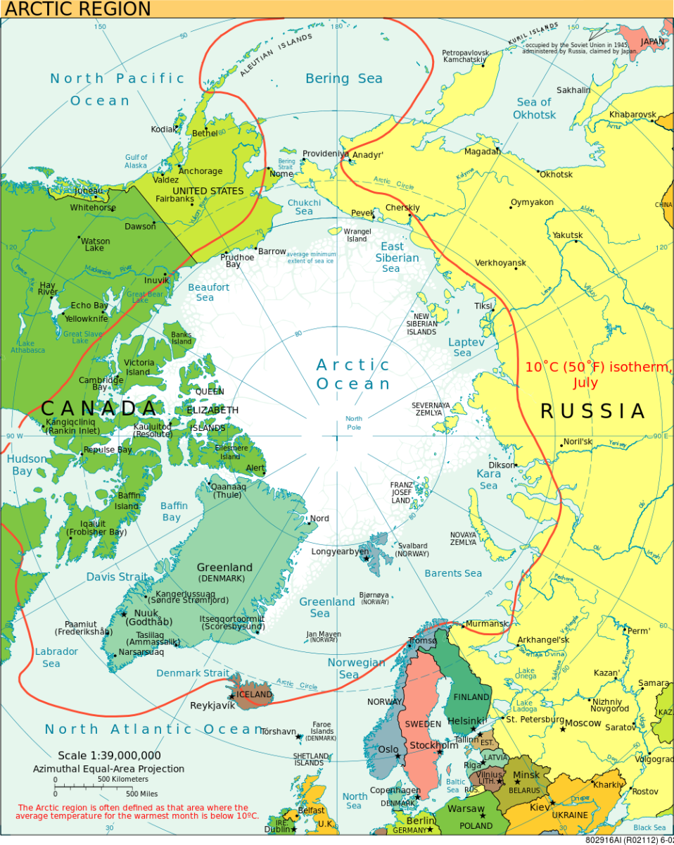 This map shows the Arctic Ocean where the various convoys sailed during WW2. Just round from the northern tip of Norway it is possible to see the two Soviet ports, Archangel and Murmansk