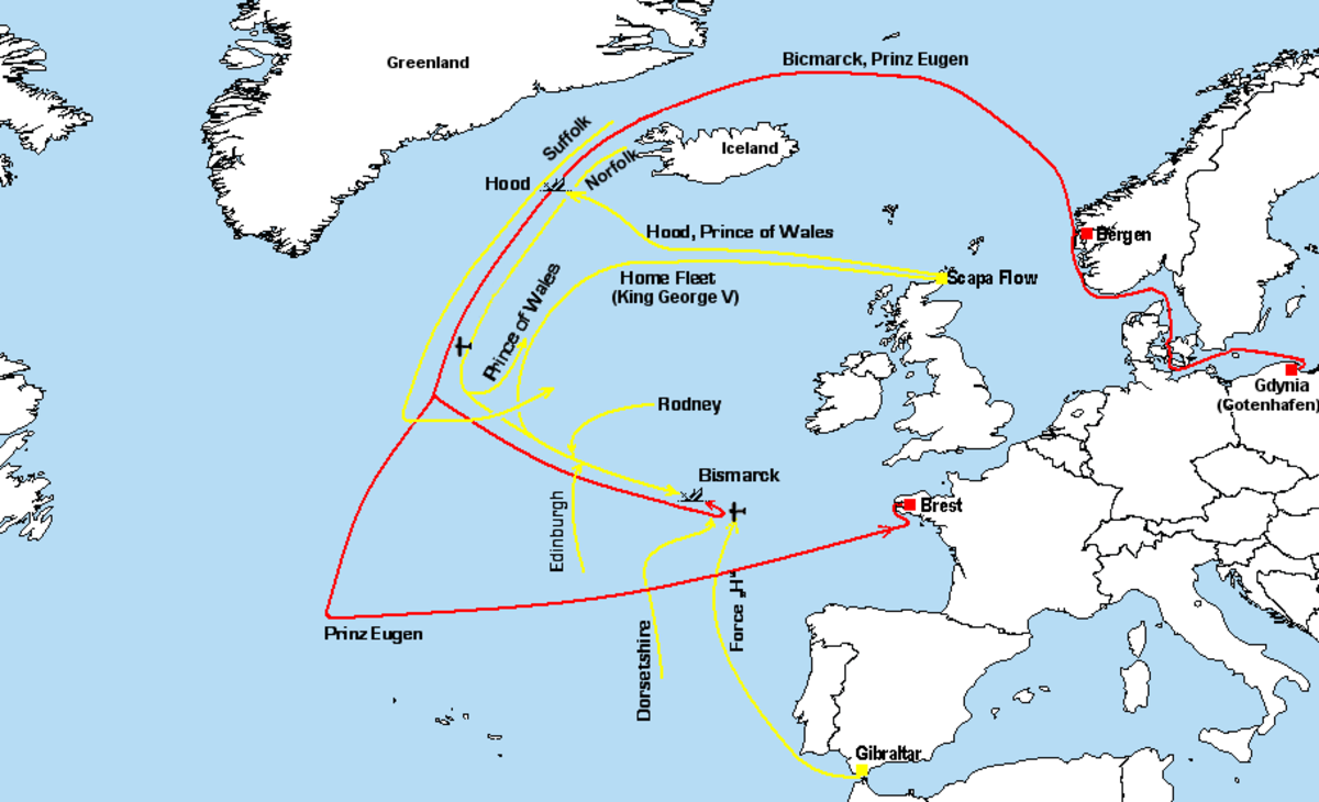 This is a map showing the Battle of the Debmark Strait, where HMS Hood was lost and which led to the sinking of the Bismarck