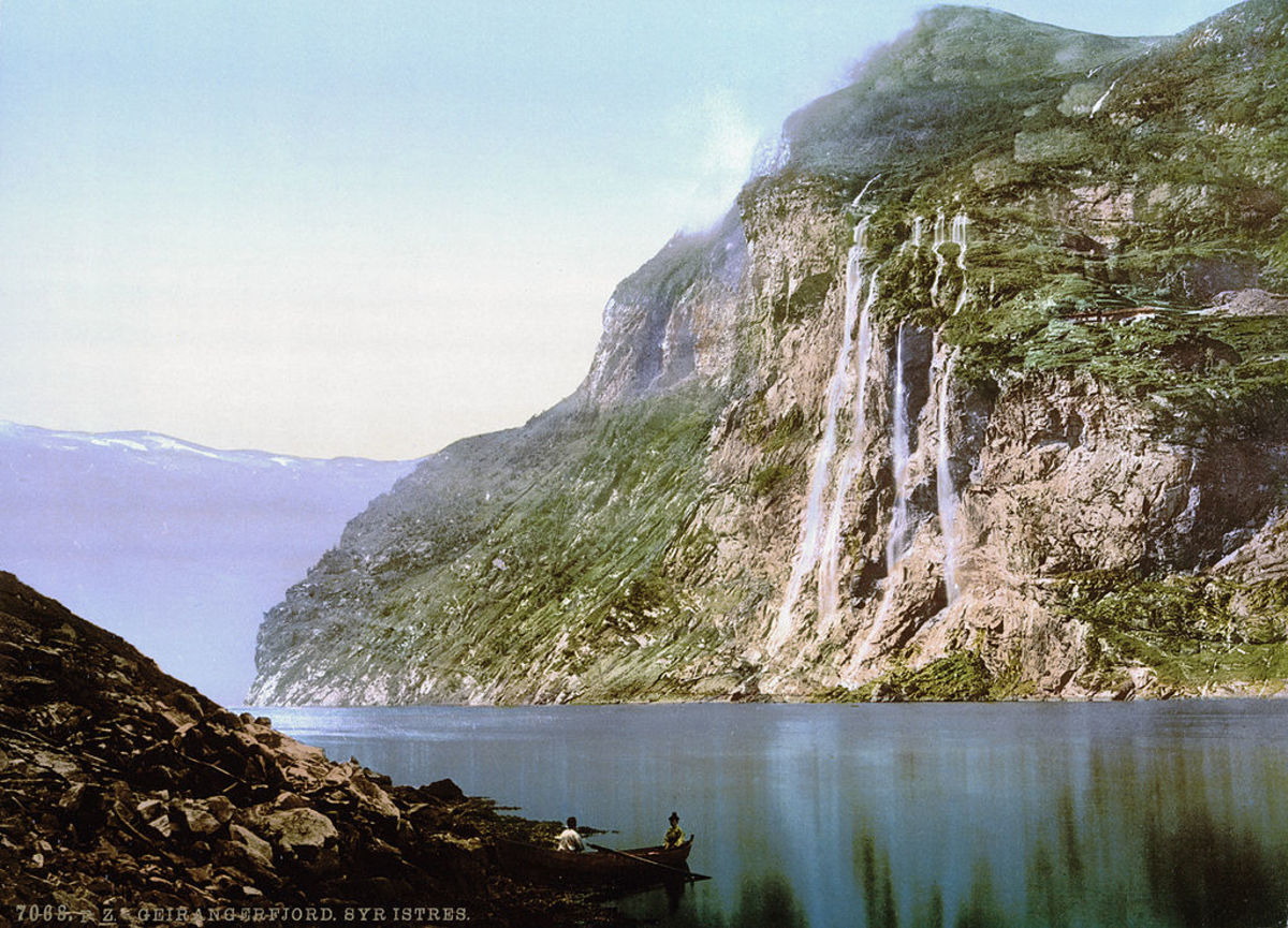 This beautiful scene shows one of the many fjords on the coast of Norway, well protected by the cliffs that surround it.