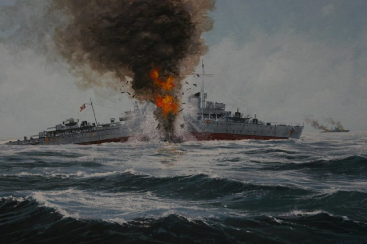 This painting shows the sinking of the German ship Friedrich Eckoldt after being attacked by HMS Sheffield