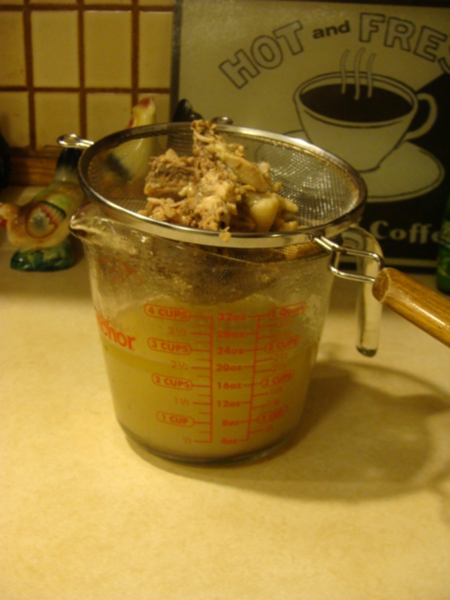 Be sure you have something large to catch your broth in when you strain. Don't laugh, my husband was making some & all the broth went down the sink! Use a strainer or colander to catch the large solids.  You can pick the meat off the bone if you like