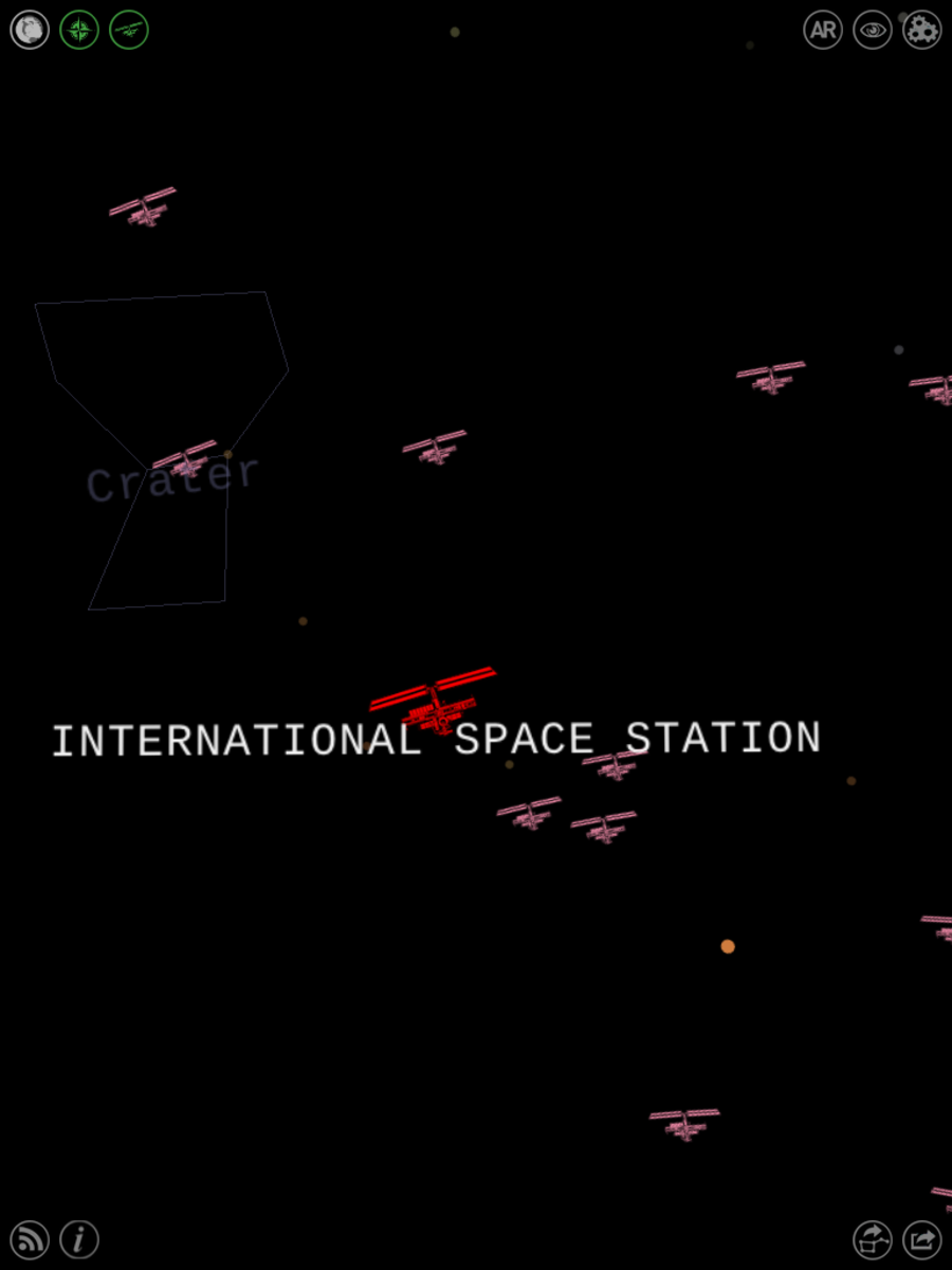 "That big huge red thing? Yep, that's the International Space Station. (Or the Hubble Space Telescope; zoom in on the icon to double-check.)  Toggle ""satellite view"" by clicking the third-from-left button at the top of the screen."