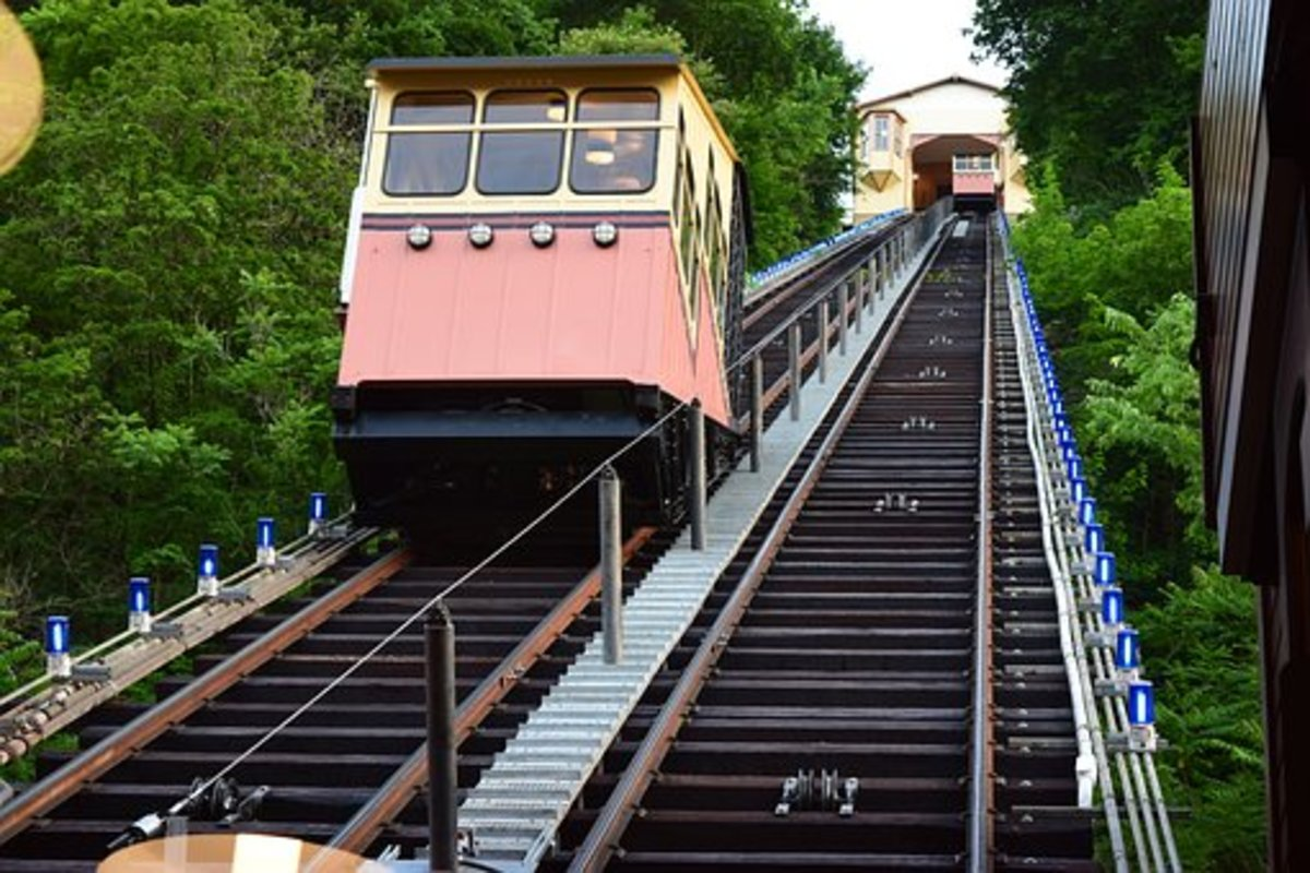 Funicular: a cable railroad, especially one on a mountainside, in which ascending and descending cars are counterbalanced.