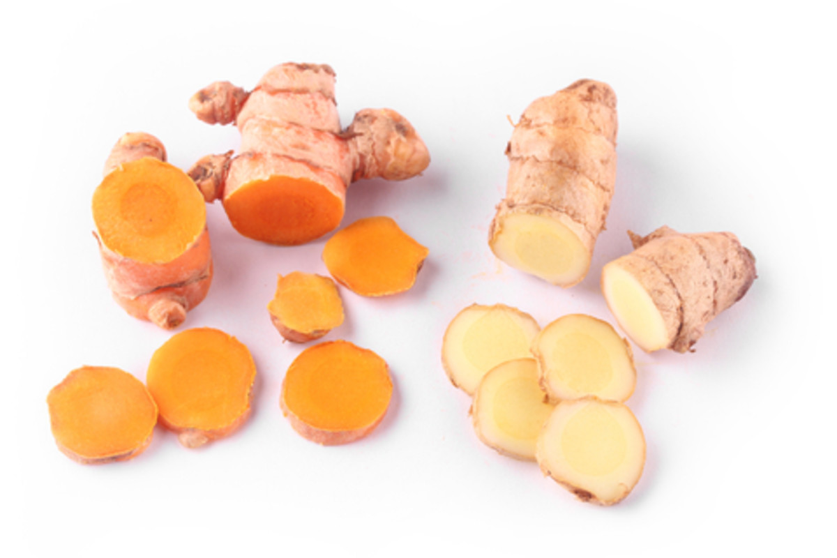 Fresh Turmeric and the lighter Ginger Root. The powder version of each spice is also effective