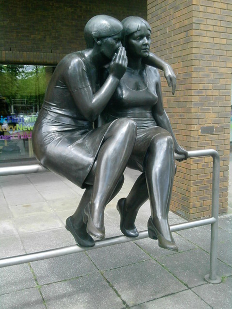 The Whisper: Andre Wallace, 1984; Bronze outside Central Milton Keynes Library. Photo by Malcolm Campbell