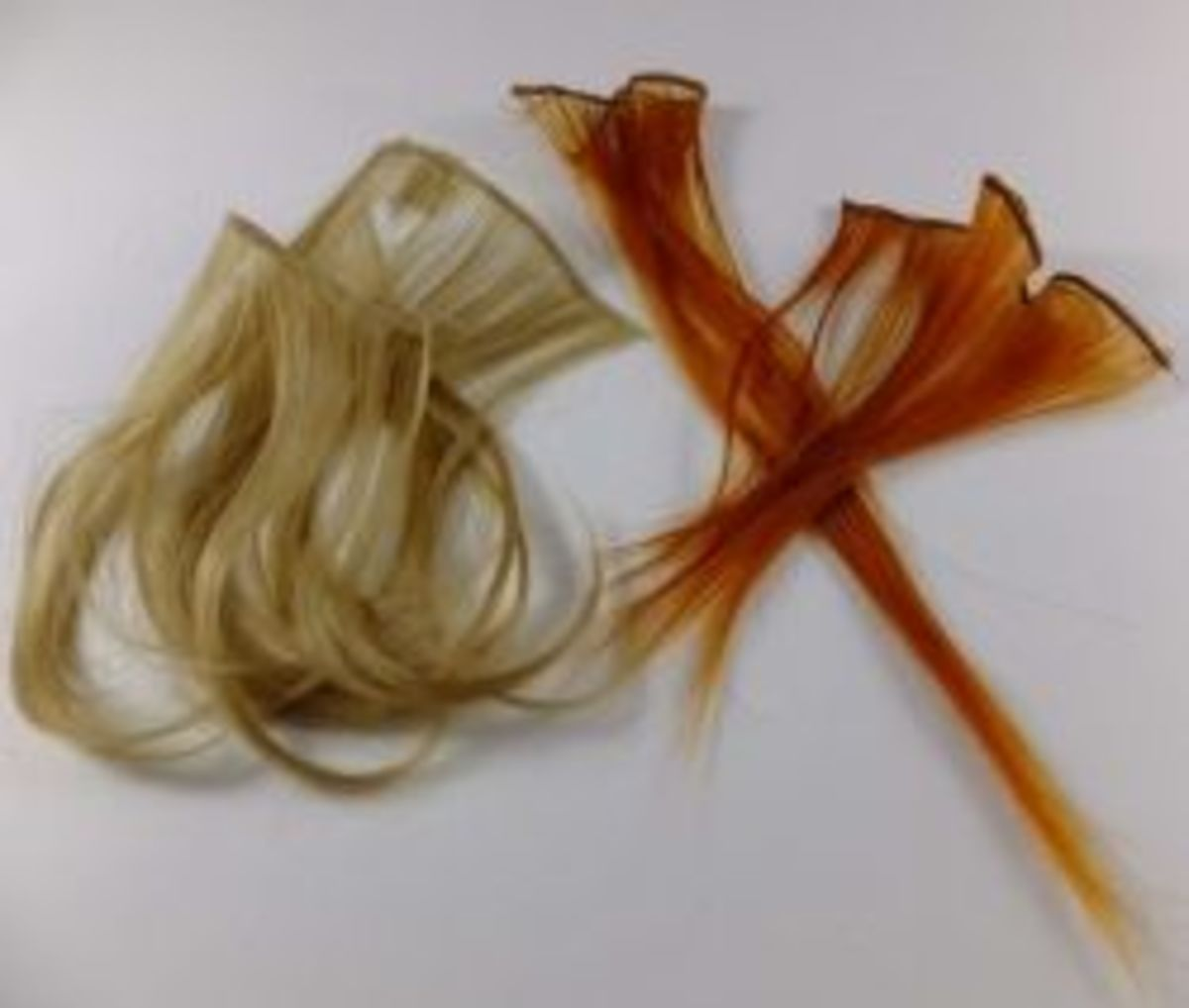 strands of hair from the wig