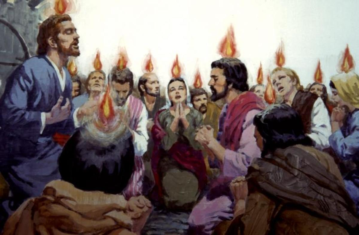 """Then there appeared to them divided tongues, as of fire, and one sat upon each of them. And they were all filled with the Holy Spirit and began to speak with other tongues as the Spirit gave them utterance"" (Acts 2:3-4)."