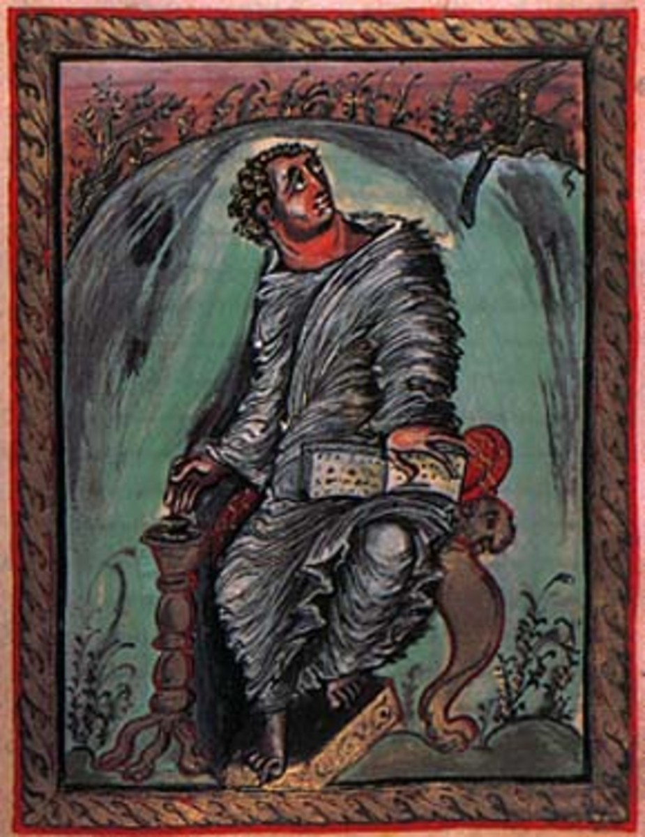 Illustration of St. Mark in the Ebo Gospels from the Rheims workshop during the Carolingian period.