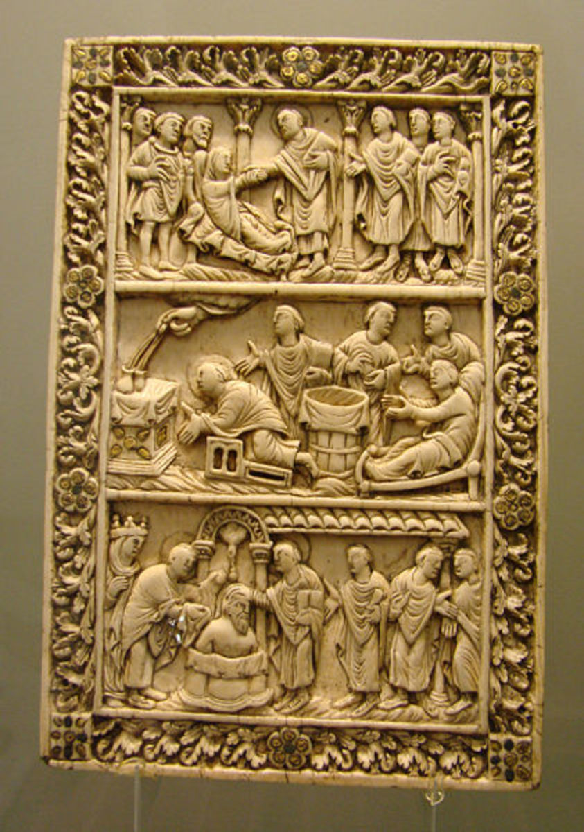 Ivory carved front cover for an illustrated manuscript from the Carolingian Revival.