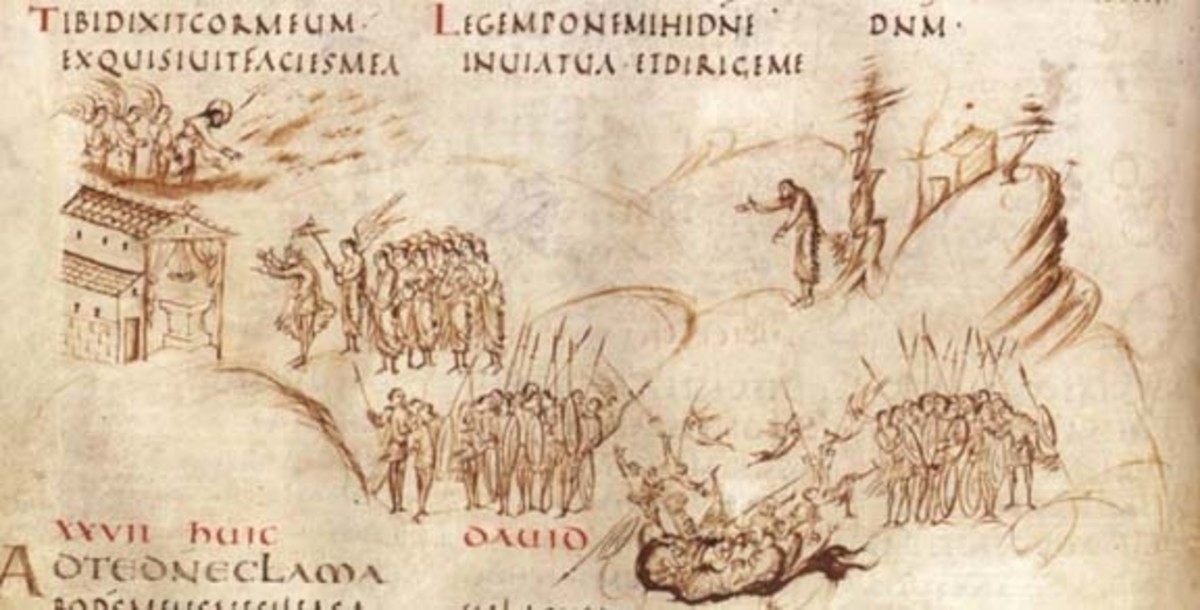 Page from the Utrect Psalter.  Illustrations are line drawn in pen, copied from another manuscript, but done for the first time during the  Carolingian period.