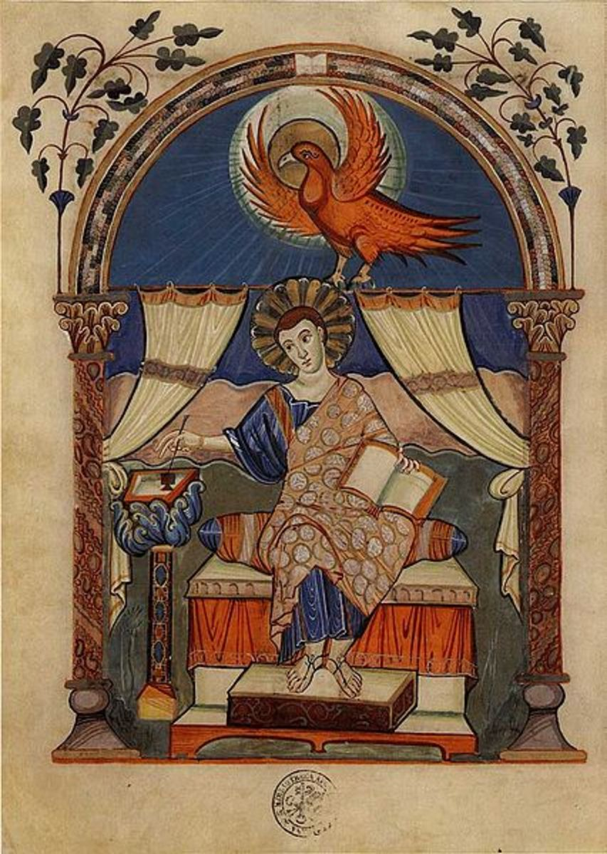 Illustration from a manuscript of the Carolingian period.
