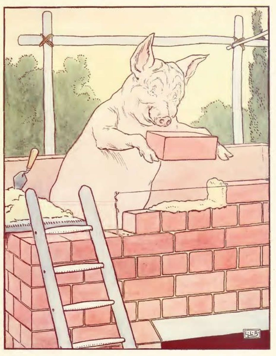 Little pig is laying bricks