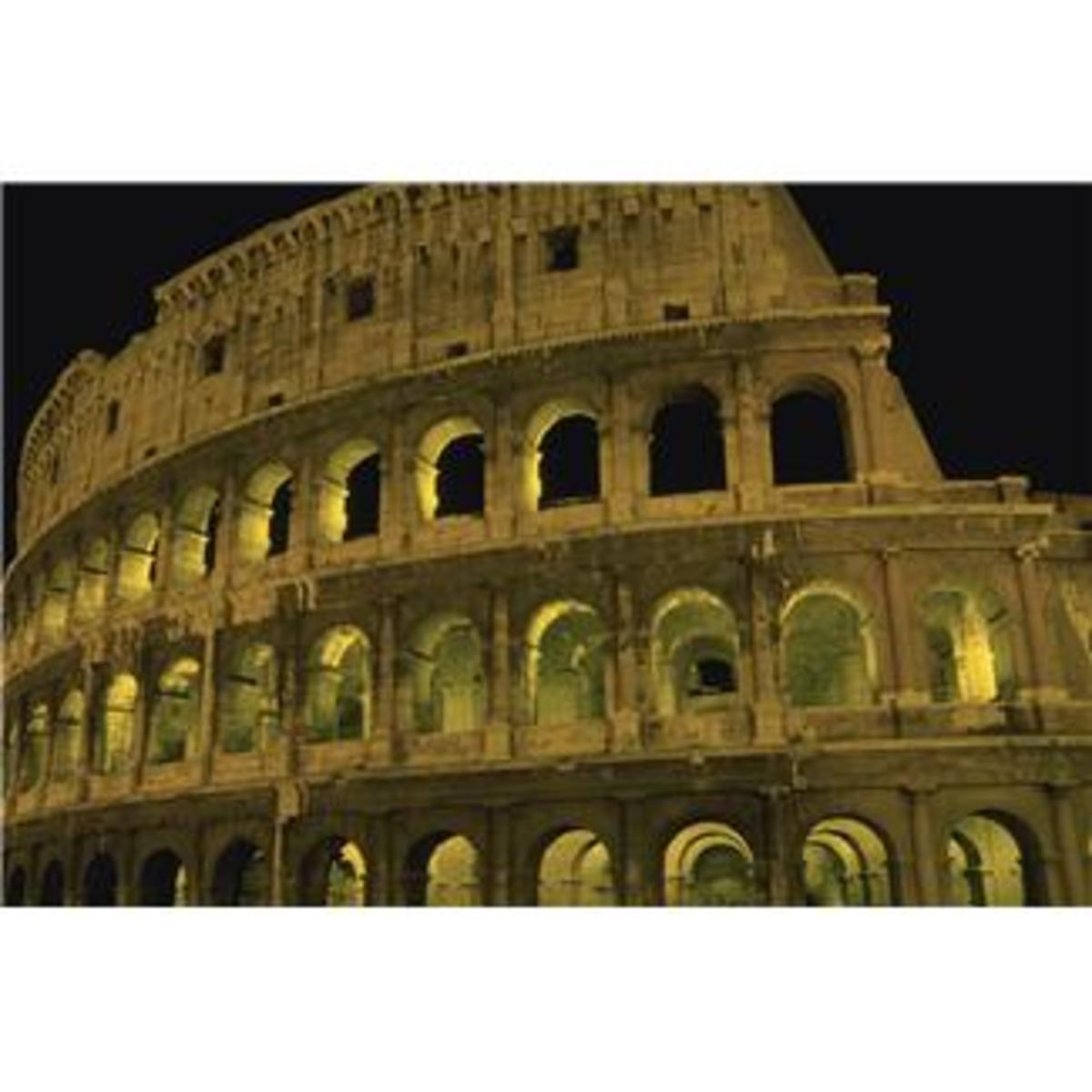 The Roman Coliseum after dark.