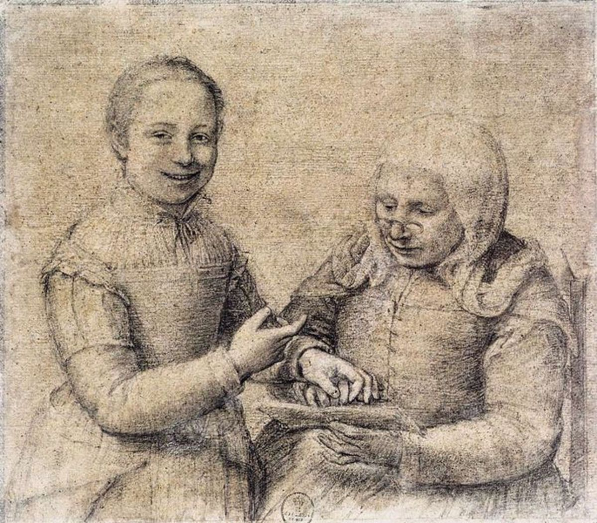 Old Woman Studying the Alphabet with a Laughing Girl from around the 1550's. Black chalk heightened with white, on paper mounted on canvas. Height: 301 mm (11.85 in). Width: 345 mm (13.58 in). Uffizzi Gallery, Florence, Italy.