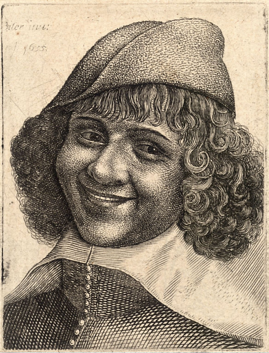 Head of laughing man, after Bijlert. Some time between 1607-1677. Notice his narrow eyes, pronounced cheeks and prominent naso labial folds.
