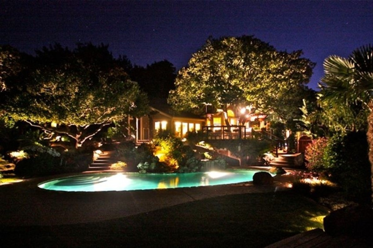 backyard night scape with trees lite from below and foliage surrounding an illuminated swimming pool