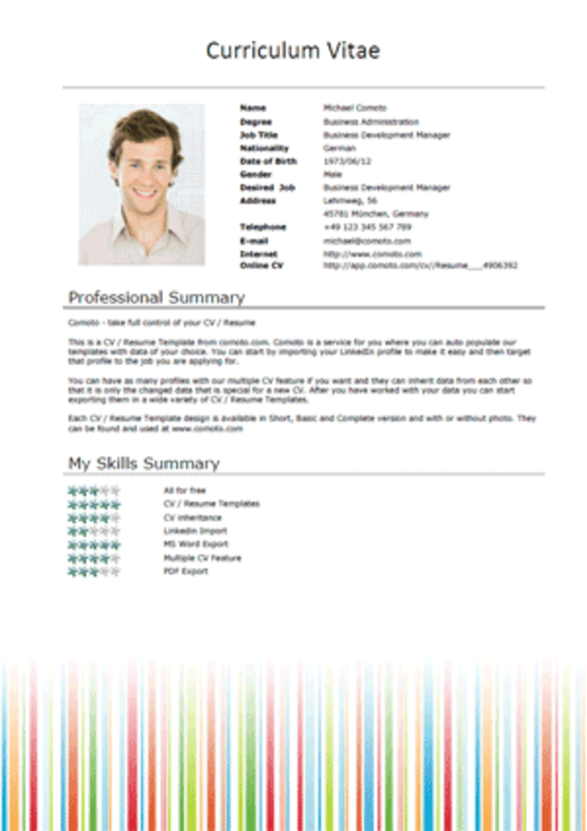 Free MS Word Resume Template Downloads From Comoto