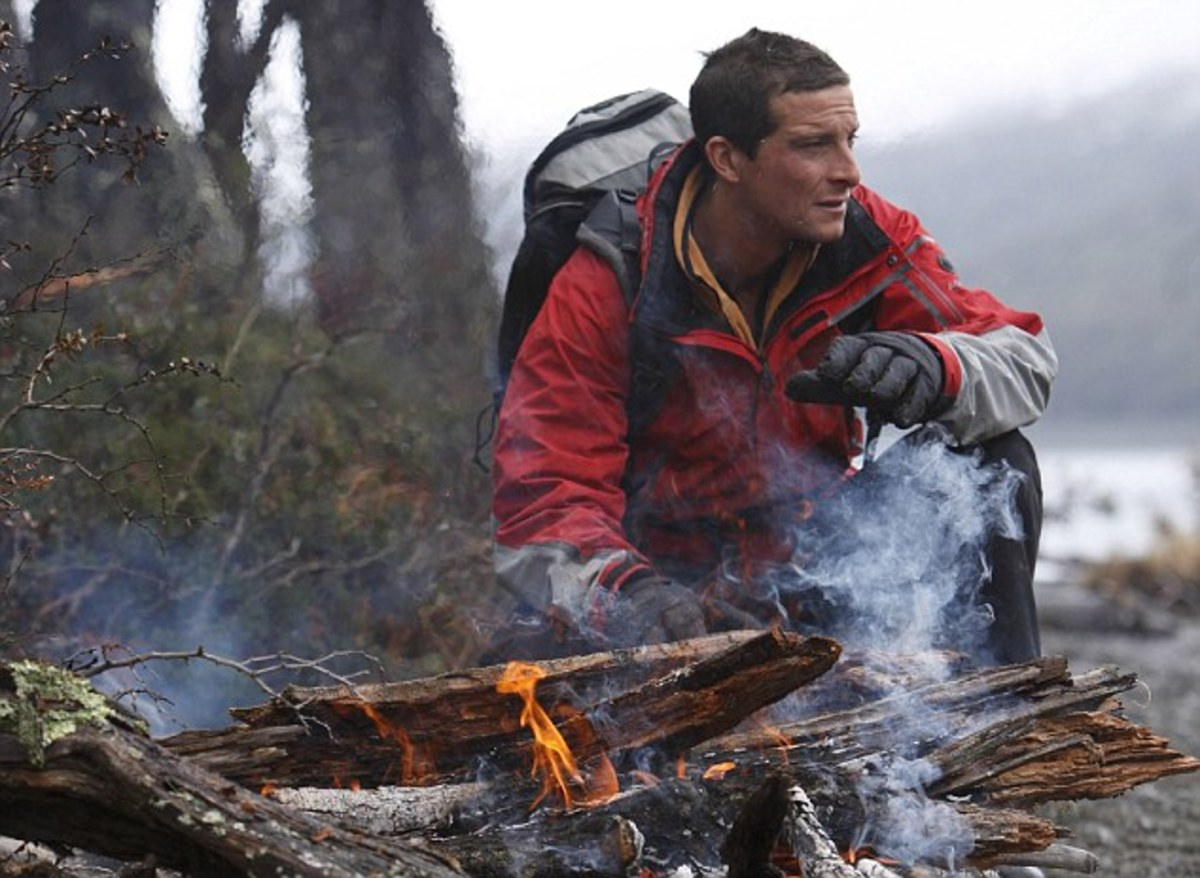 Bear Grylls from Man Vs. Wild with his Survival Bag