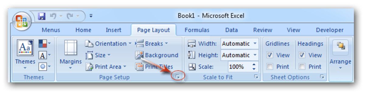 The Page Layout Tab of Excel 2007