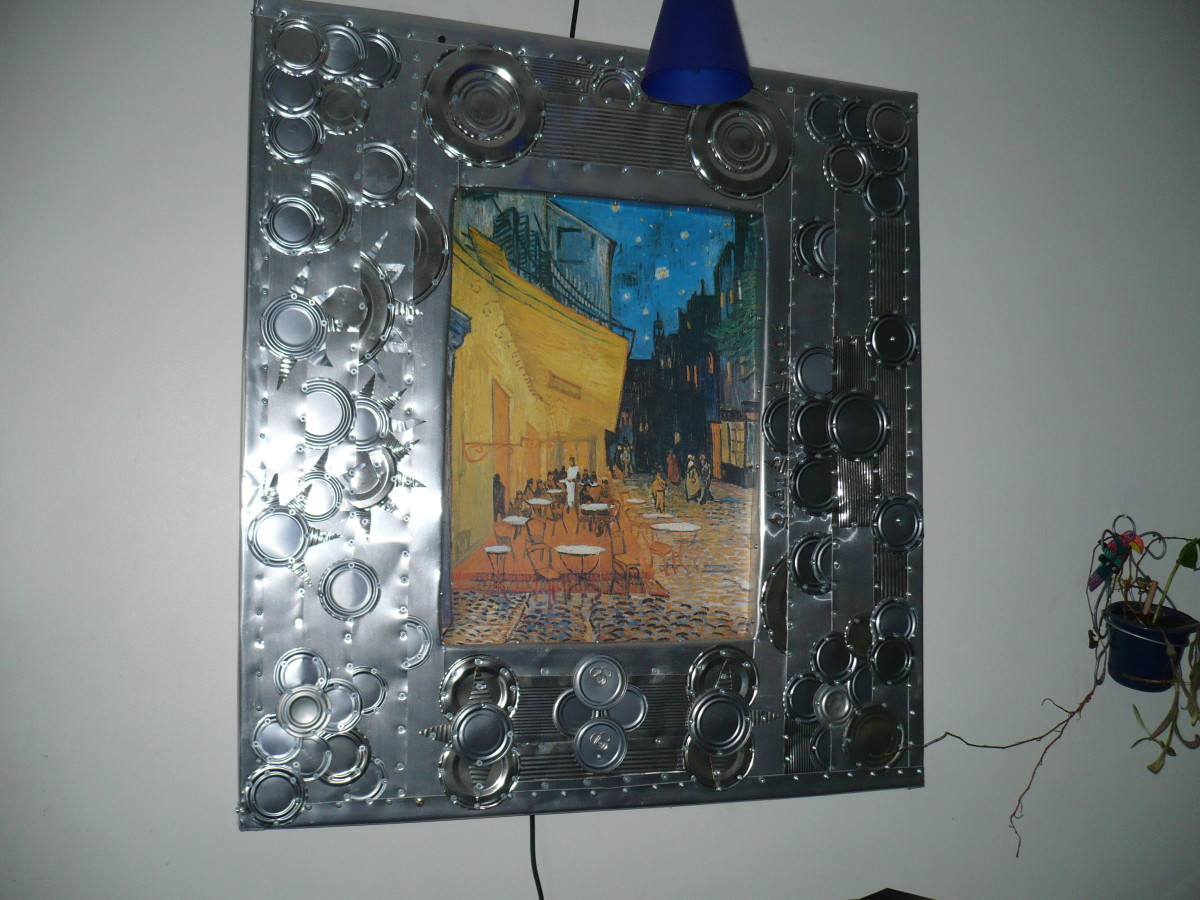 "I just found out by  a hubber's hub (  ""Vincent Van Gogh, Troubled Genius"" by Uninvited Writer ) that the print in my aluminum can frame is a Vincent Van Gogh. Who Knew? I found it in a dumpster with another restaurant sign."