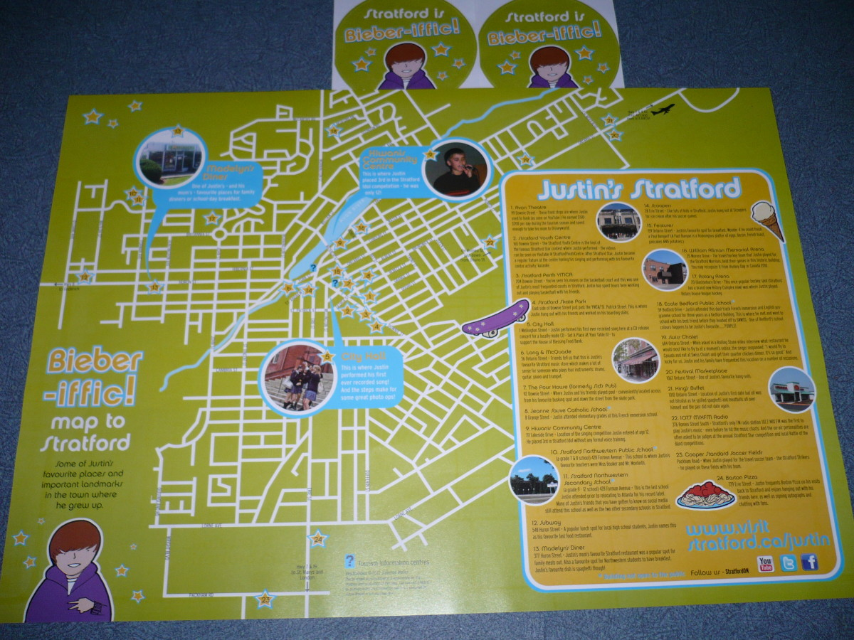 DIY tour guide of Stratford ON. Canada. See a walking map for Justin Bieber's Stratford hangouts