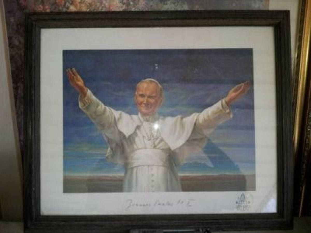 A print of Pope John Paul