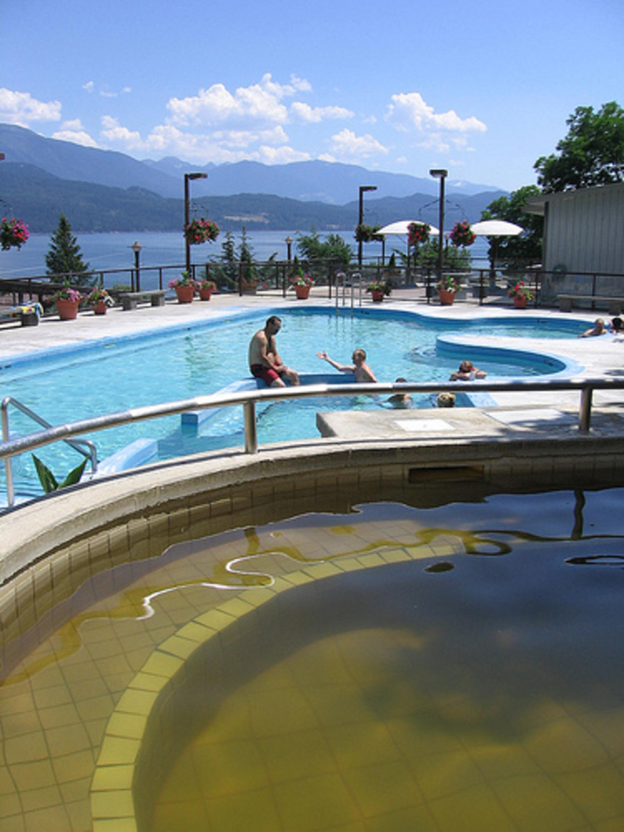 Photo: Main Pool Ainsworth, B.C, and pool in front of cave area.