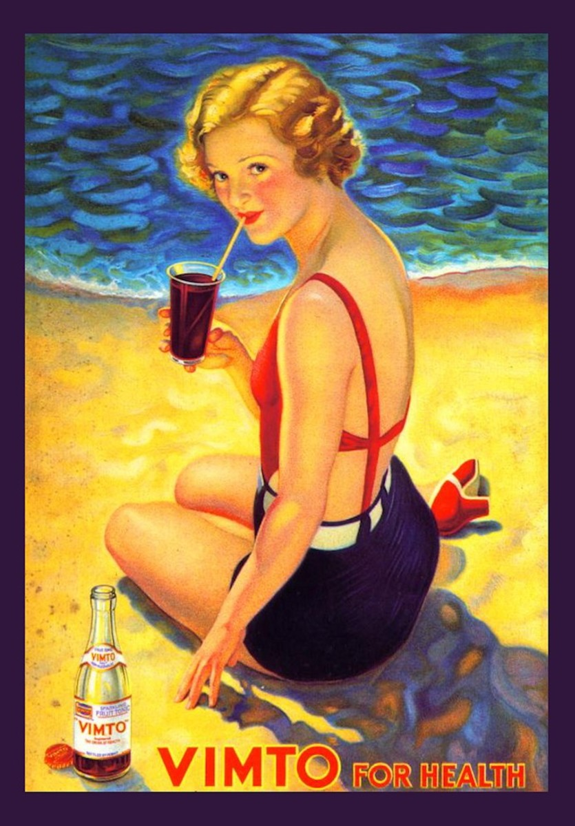 Vitmo Advertising poster with blond girl in vinatge swim suite