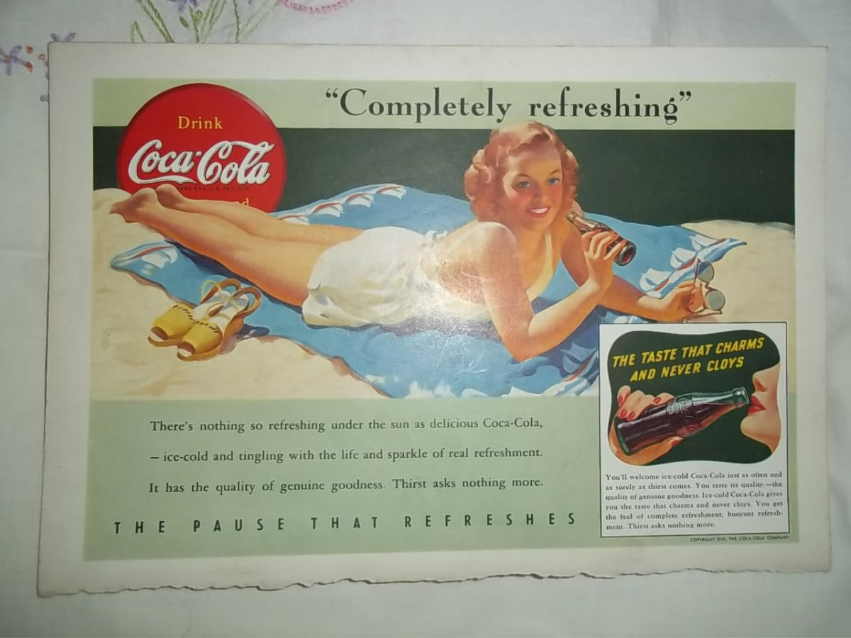 1956 advertisement for Coca Cola with blond girl in white swim suit