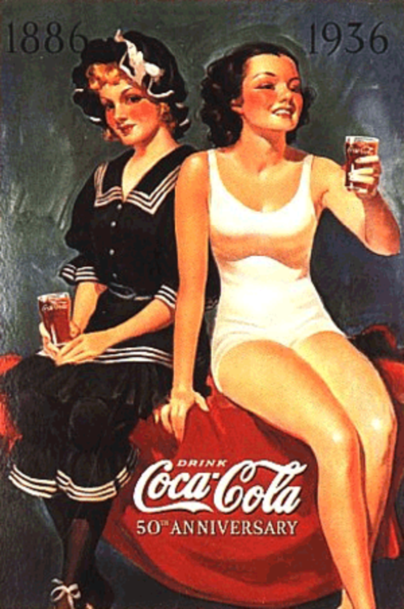 vintage Coca Cola advertisement poster with two girls one in a white one piece swim suit and the other clothes in a nautical outfit both with Coca Cola bottles in their hands