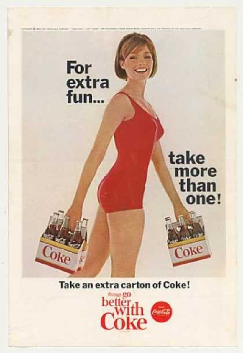 "advertising poster for Coca Cola stating ""for extra fun...take more than one!"" with brunette in red swim suit carrying two 6 packs of Coca Cola"