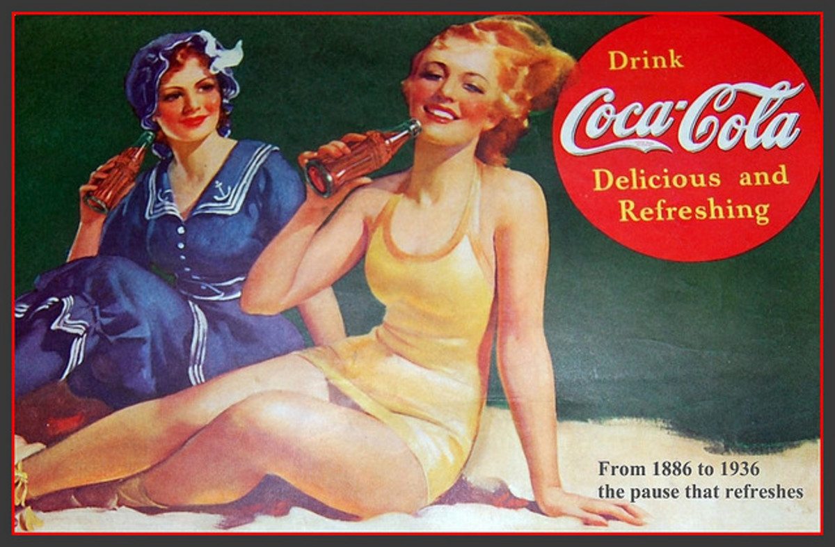 vintage Coca Cola advertisement with red head girl in yellow swim suit