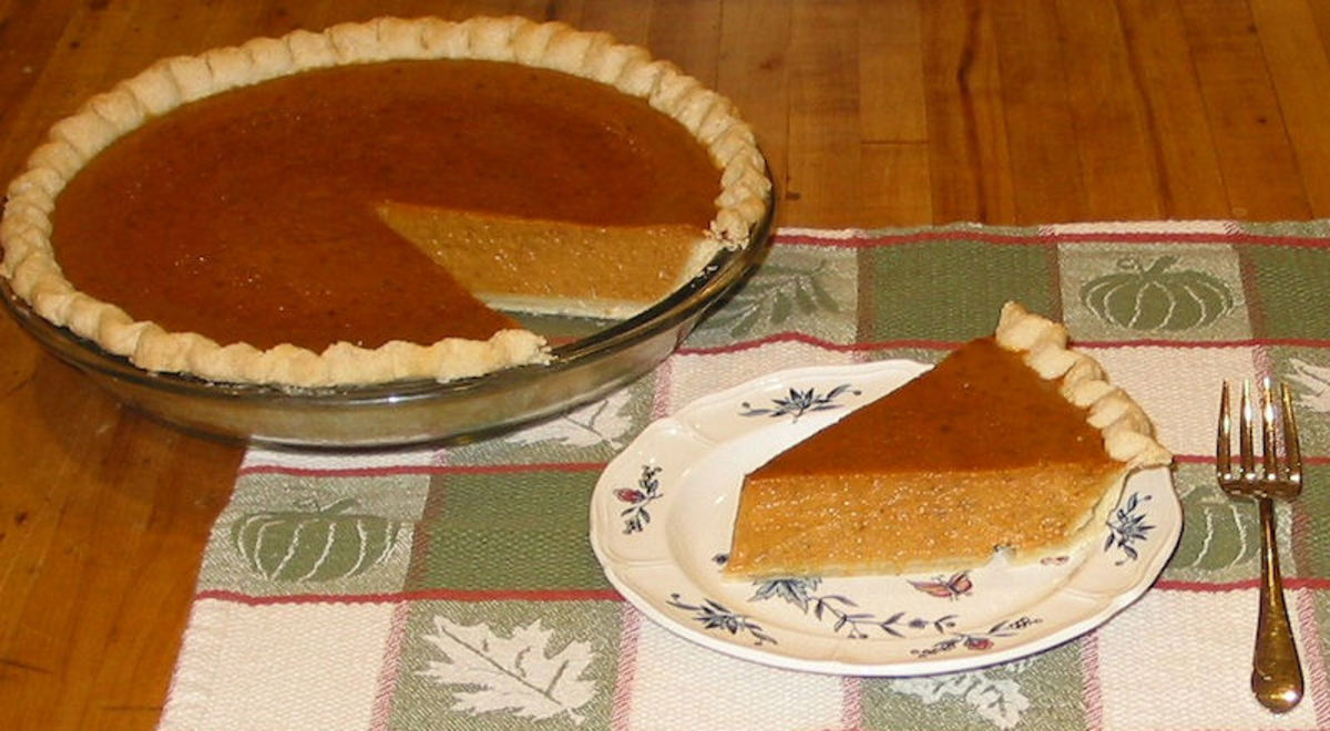 Pumpkin pie is traditionally served around Thanksgiving in the Fall.