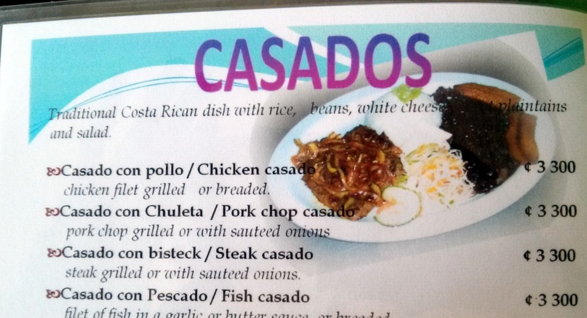 A portion of the menu from the Copa del Oro Restaurant showing the types of casados offered.  Casados don't always offer cheese.
