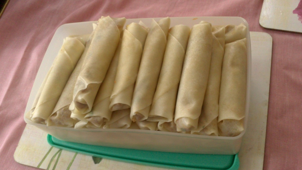 Ready to fry minced beef spring rolls