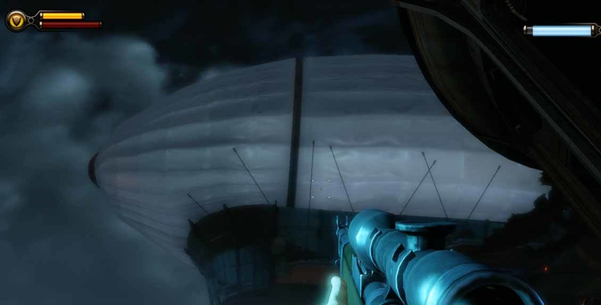 Bioshock Infinite destroy all Vox zeppelins. Use songbird to protect Booker's zeppelin.