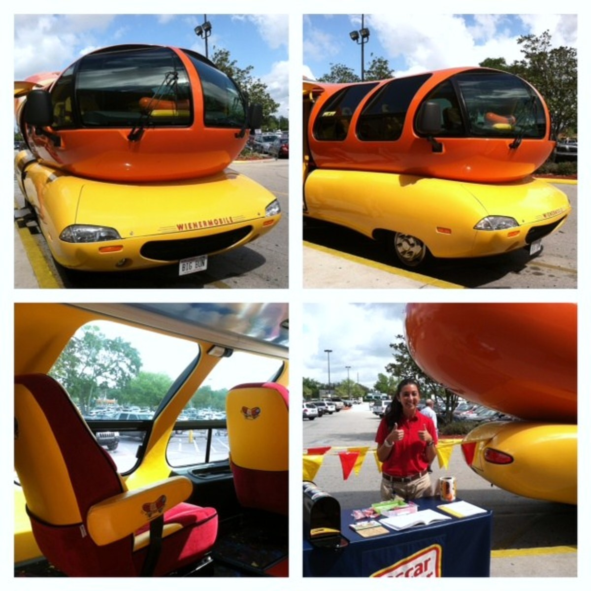 Different angles of the Wienermobile and a Hotdogger who was kind enough to pose for me.