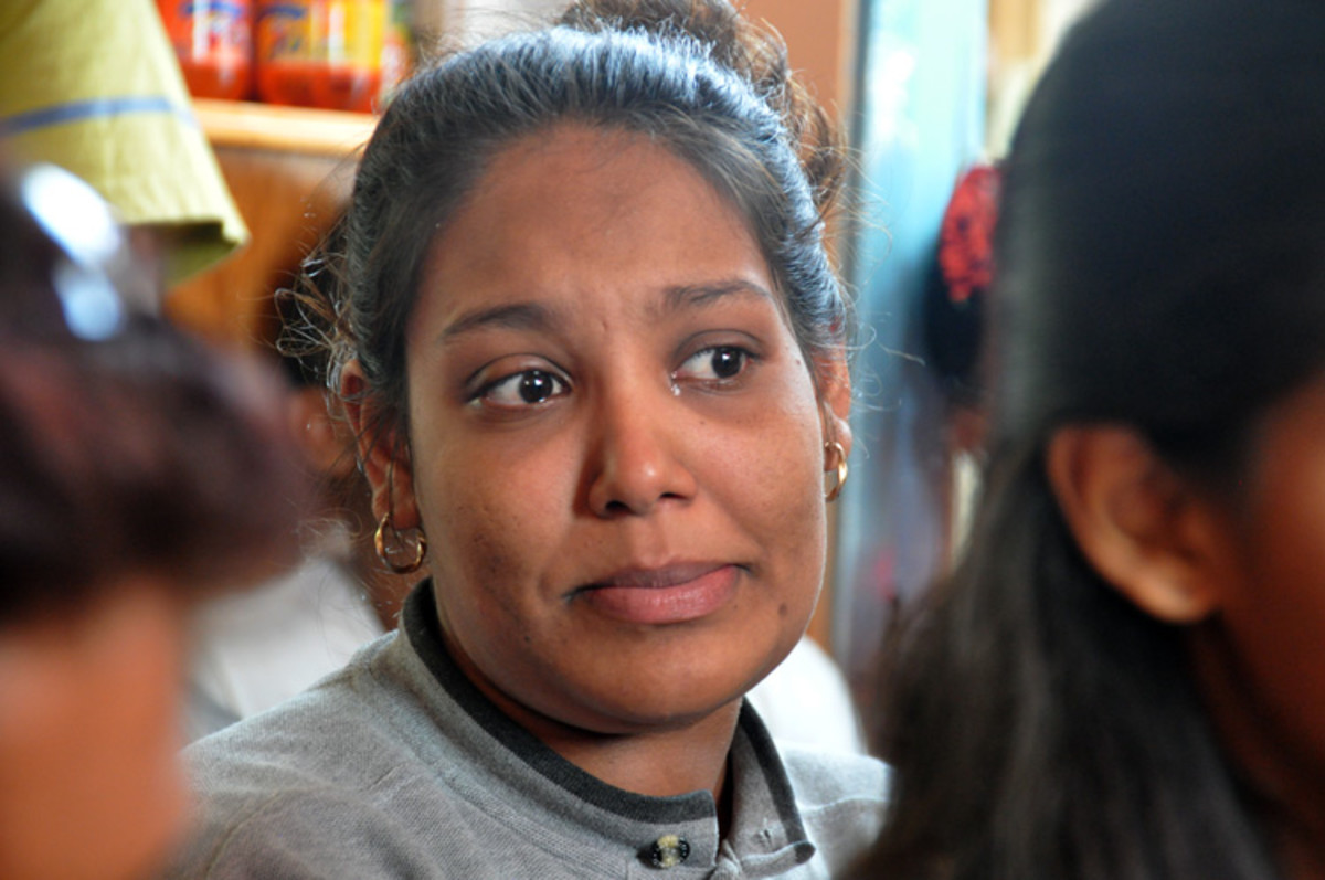 Daughter 1 speaks through the tears in her eyes...