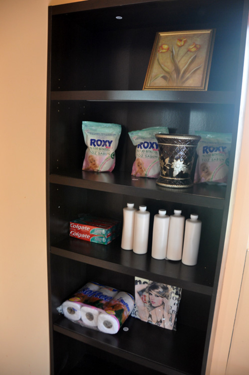 The toiletries cupboards are moved in along with toiletries enough to last about a year.