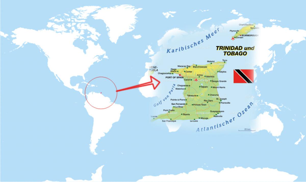 La ubicación del país de la isla diminuta, Trinidad y Tobago.