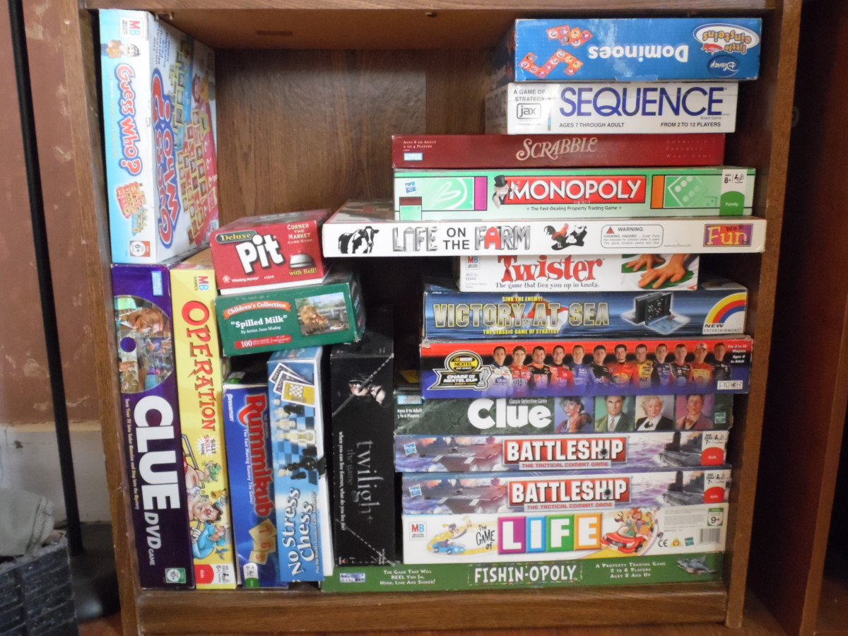 Board games all together, easy for children to look and pick, are ready to go at any time.