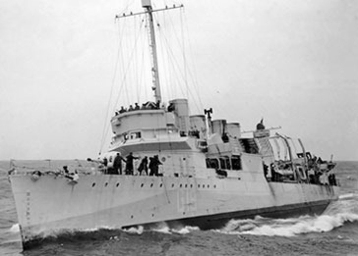 HMS Leamington one of the old 4 stack destroyers after conversion.
