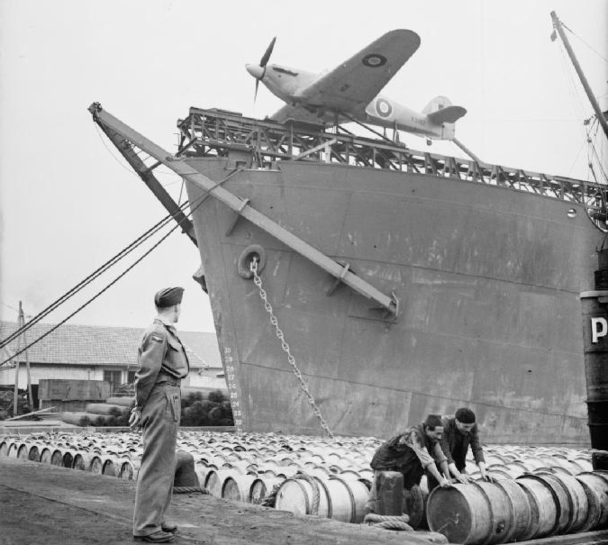 Sea Hurricane mounted on a rocket launcher at the bow of a CAM ship