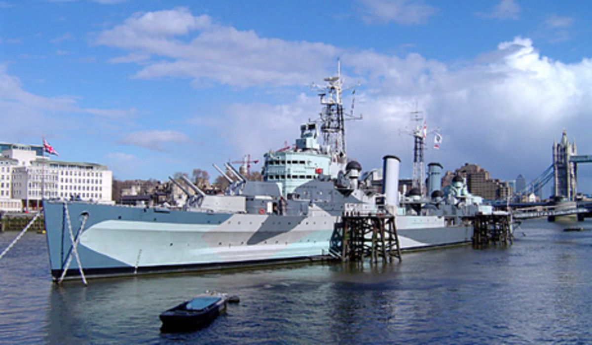 HMS Belfast currently moored in London and open to the public