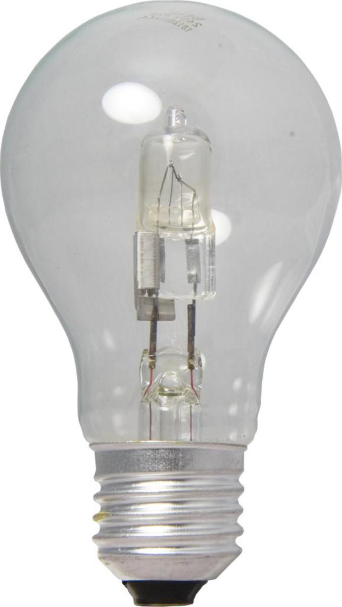 Halogen light in the shape of the original incandescent bulb