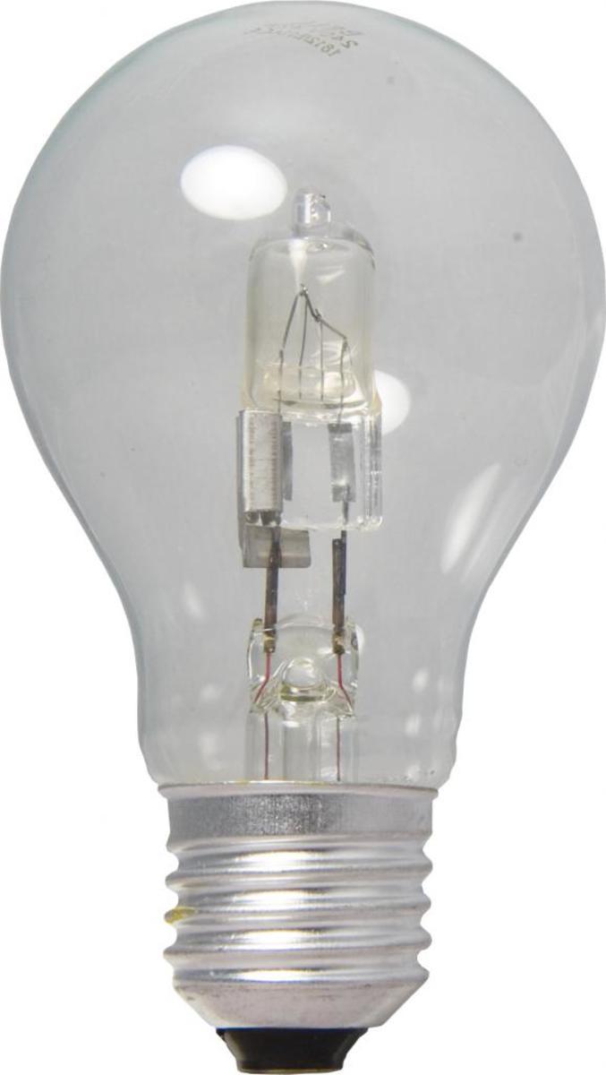 Halogen light in the shape of the original incandescent bulb