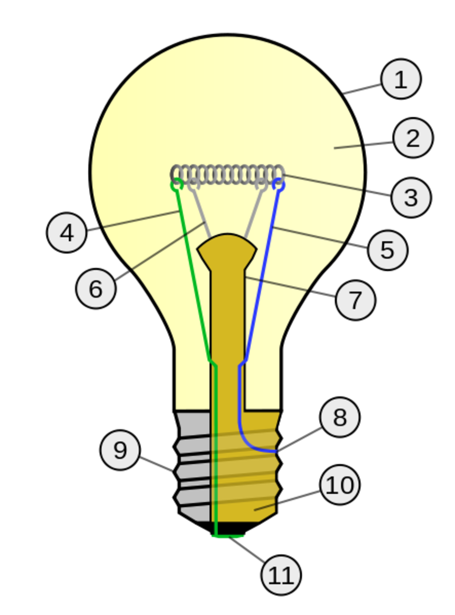 1. Outline of glass bulb  2. Low pressure inert gas 3. Tungsten filament   4. Contact wire   5. Contact wire   6. Support wire 7. Stem       8. Contact wire 9. Cap (Sleeve) 10. Insulation 11. Electrical contact