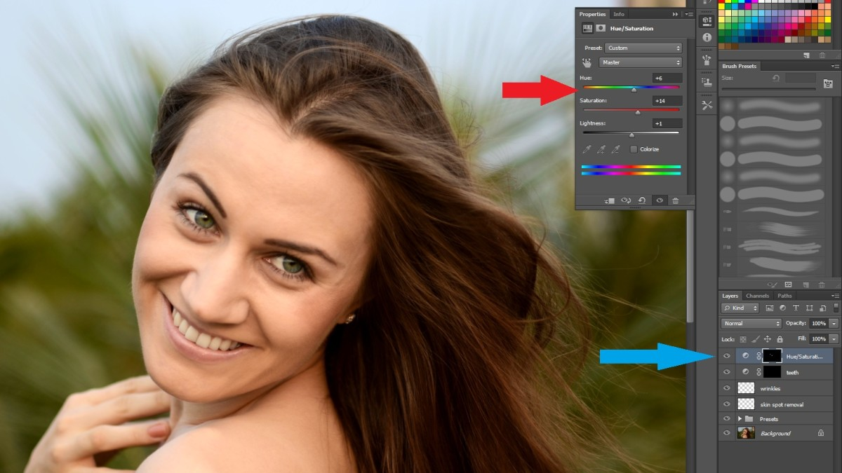 Red:Change the desired settings Blue: Control the before and after effect through the layer visibility